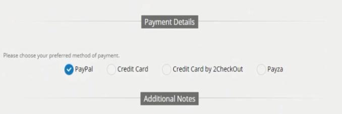 Escogemos el metodo de pago