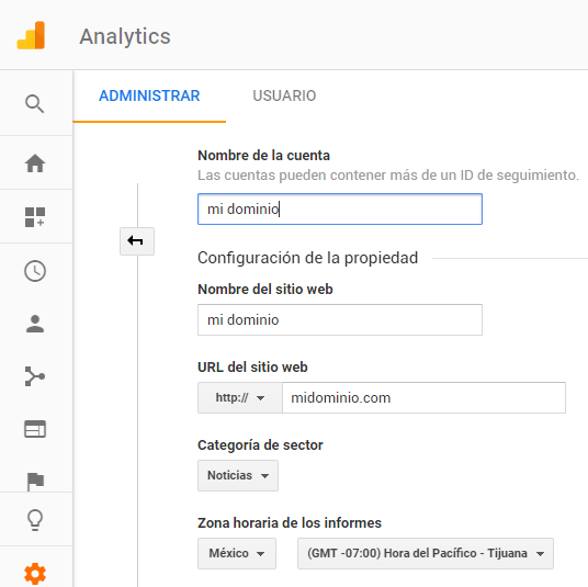 añadir dominio en Google Analytics