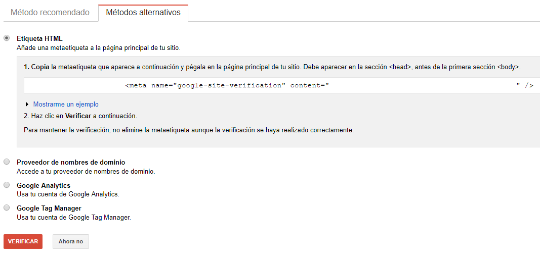 añadir dominio en Google search console